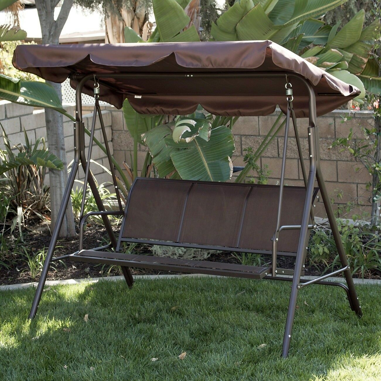 3 Person Patio Swing Canopy Awning Outdoor Hammock Steel Brown Throughout 3 Person Brown Steel Outdoor Swings (View 5 of 25)