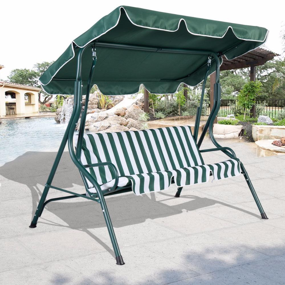 3 Person Patio Swing Outdoor Canopy Awning Yard Furniture Hammock Steel Green Op2573*fds Within Garden Leisure Outdoor Hammock Patio Canopy Rocking Chairs (View 11 of 25)