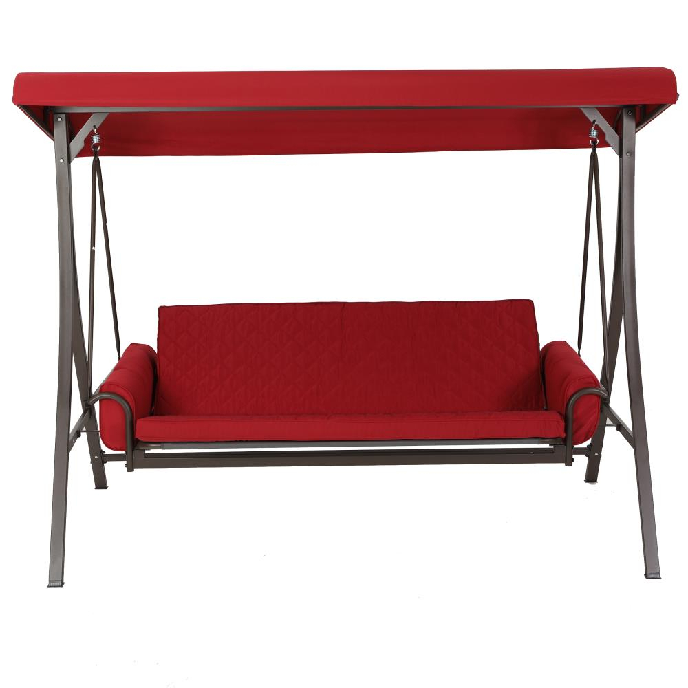3 Person Red Futon Swing In 3 Person Red With Brown Powder Coated Frame Steel Outdoor Swings (Photo 10 of 25)