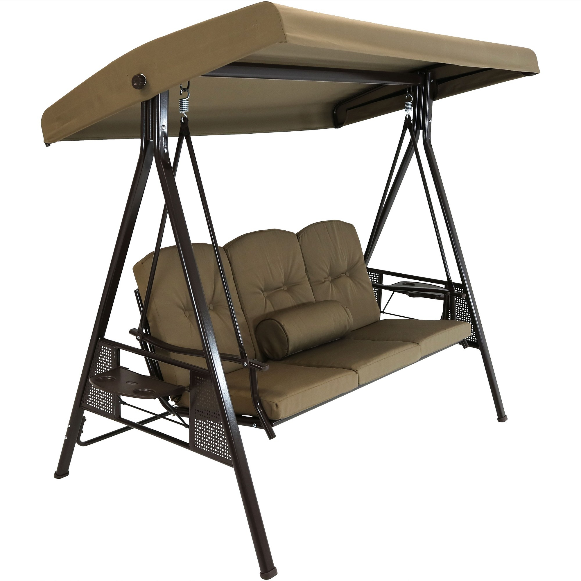 3 Person Steel Frame Canopy Patio Swing With Side Tables Throughout 3 Seater Swings With Frame And Canopy (Image 2 of 25)