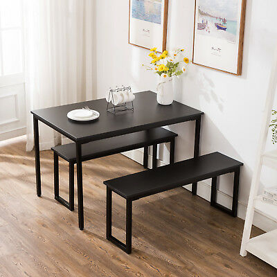3 Piece Dining Table Set 2 Bench Chairs Wood Rectangle Pertaining To 3 Pieces Dining Tables And Chair Set (View 7 of 25)