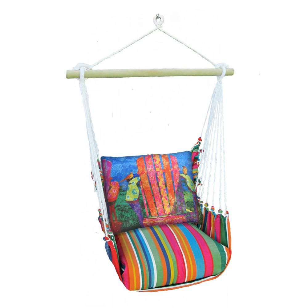 3 Piece Wood Polyester Cushioned Porch Swing With Colorful Chair Print Back Pillow Within Cotton Porch Swings (View 7 of 25)