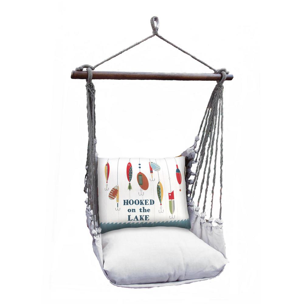 3 Piece Wood Polyester Cushioned Porch Swing With Hooked On Lake Print Back Pillow With Cotton Porch Swings (View 21 of 25)