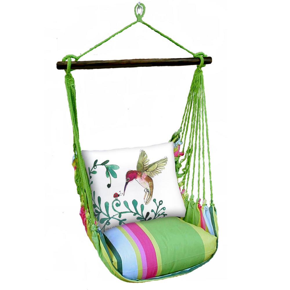 3 Piece Wood Polyester Cushioned Porch Swing With Hummingbird Print Back Pillow For Cotton Porch Swings (View 6 of 25)