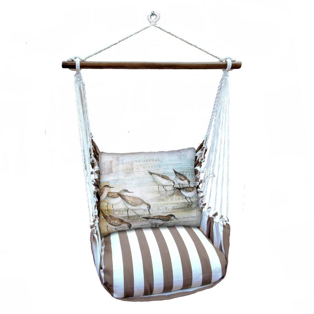 3 Piece Wood Polyester Cushioned Porch Swing With Sea Birds Print Back  Pillow Within Cotton Porch Swings (Photo 13 of 25)