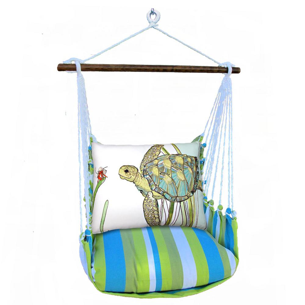3 Piece Wood Polyester Cushioned Porch Swing With Turtle Print Back Pillow In Cotton Porch Swings (View 10 of 25)