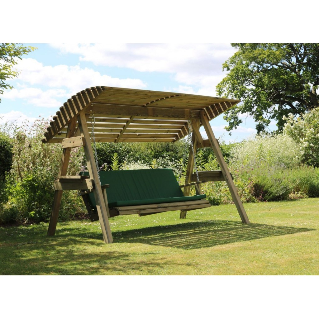 3 Seat Wooden Garden Swing Chair Seat Hammock Bench Furniture Lounger Intended For 3 Seat Pergola Swings (Photo 14 of 25)