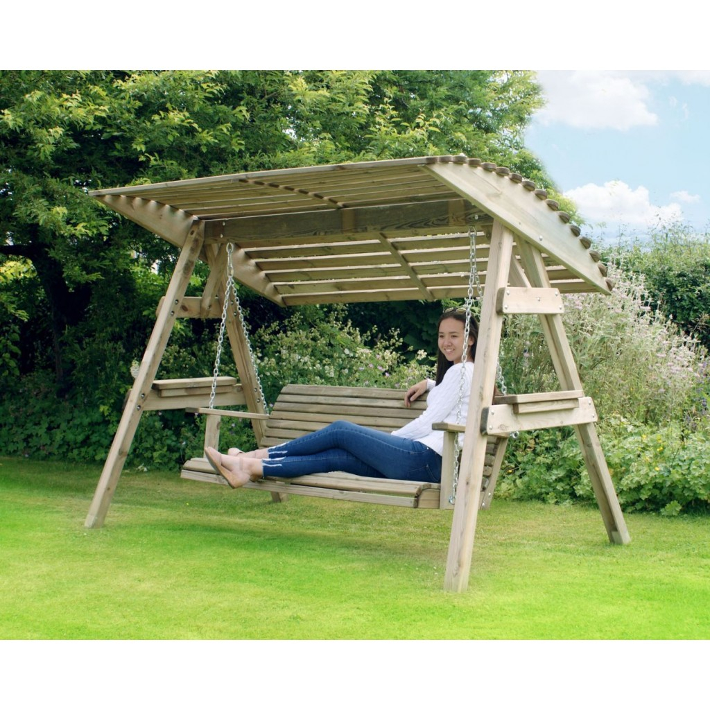 3 Seat Wooden Garden Swing Chair Seat Hammock Bench Furniture Lounger With 3 Seat Pergola Swings (Photo 21 of 25)