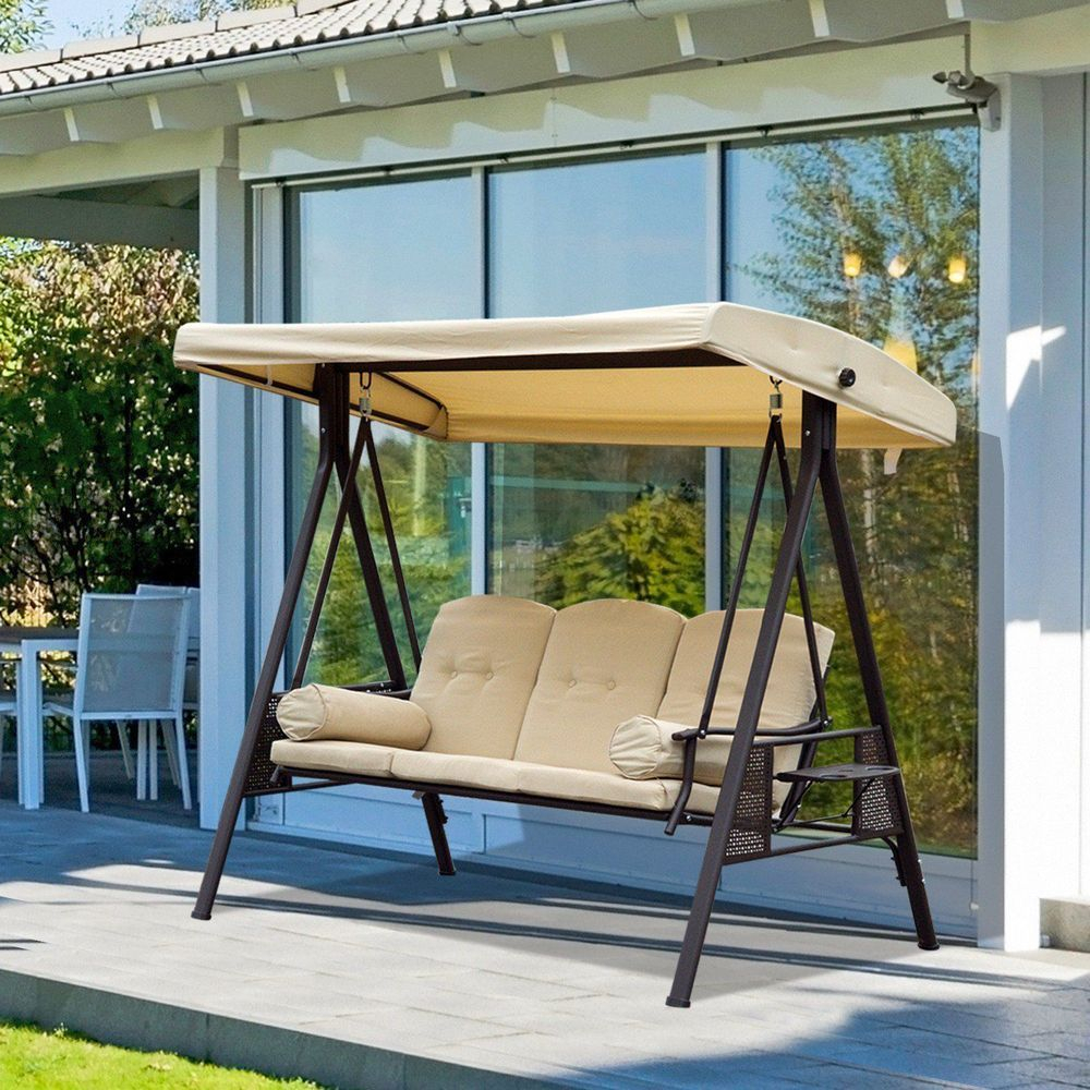 3 Seater Outdoor Swing Chair Arc Canopy Steel Frame Beige With 3 Seater Swings With Frame And Canopy (Image 1 of 25)