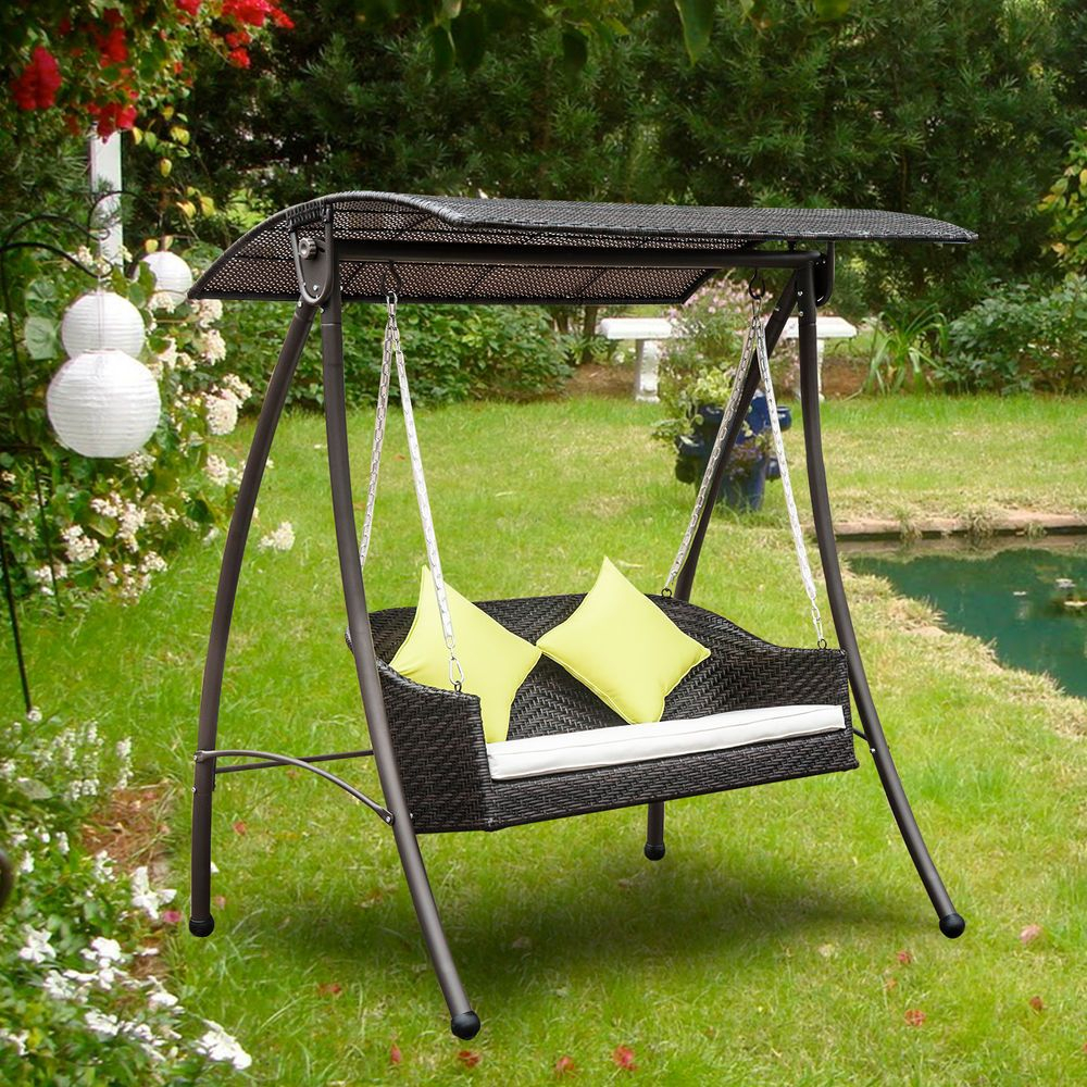 3 Seater Rattan Garden Swing Chair Patio Swinging Hammock Intended For Rattan Garden Swing Chairs (Photo 9 of 25)