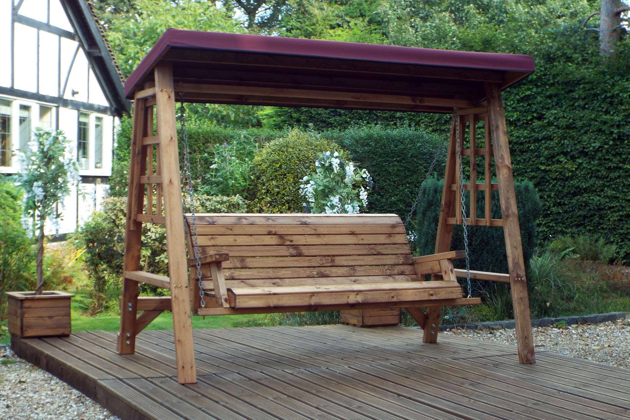 3 Seater Wooden Garden Swing Seat – Wooden Garden Hammock – 3 Seat Swing  With Canopy Throughout 3 Seat Pergola Swings (Photo 5 of 25)