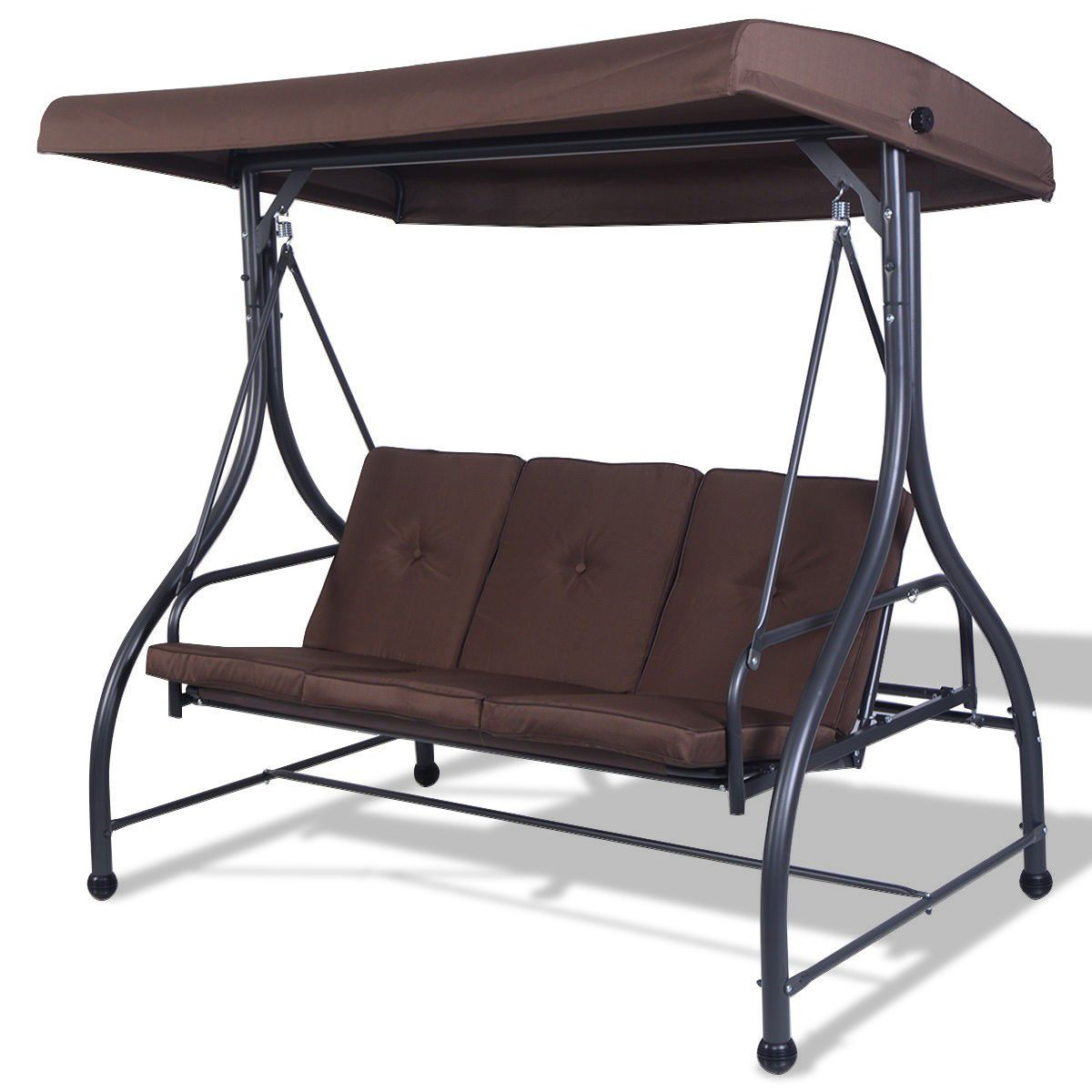 3 Seats Cushioned Porch Swing Chair In 2019 | Porch Swing Within Patio Loveseat Canopy Hammock Porch Swings With Stand (Image 2 of 25)