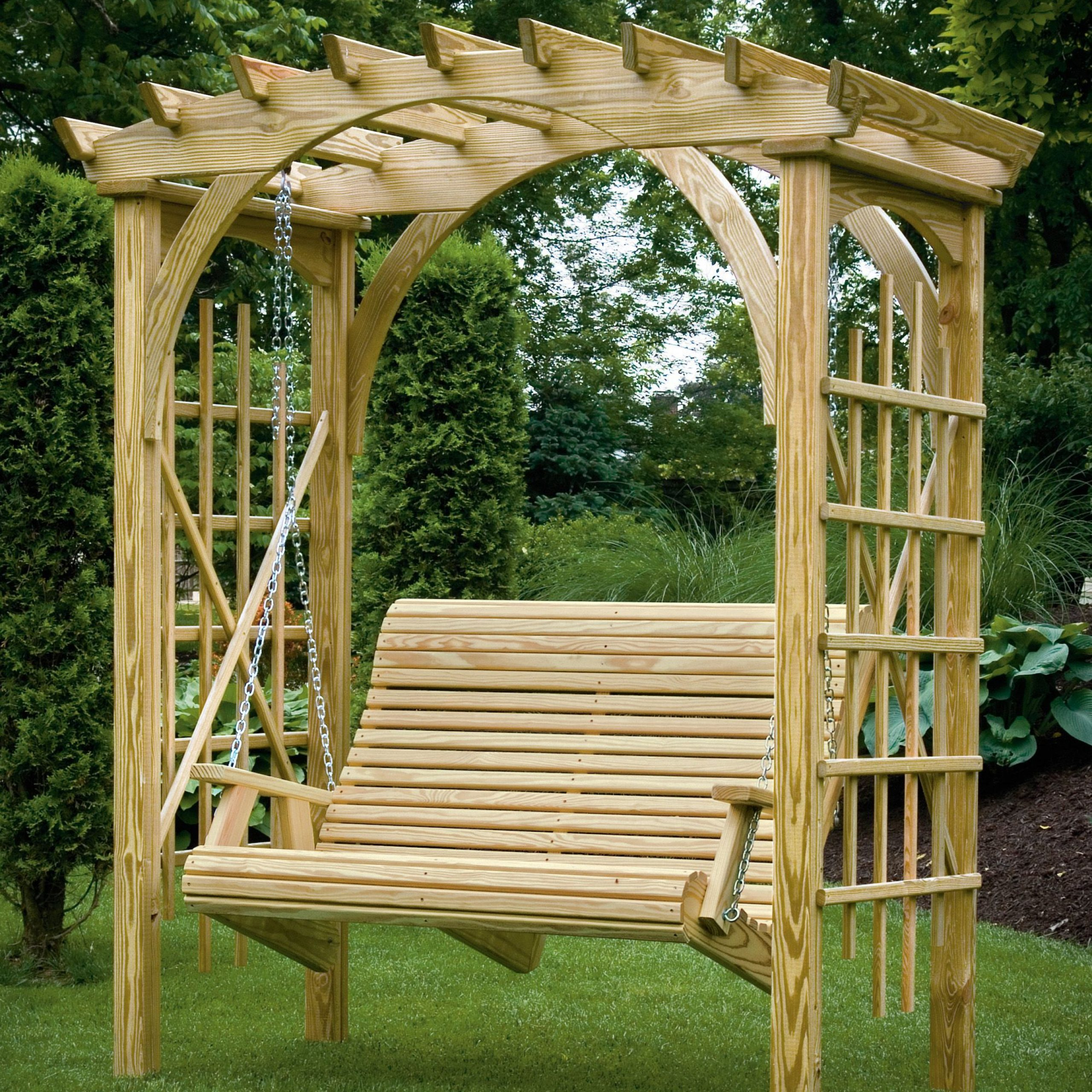 3' X 6' Roman Arch Arbor With Rollback 4' Hanging Swing With 3 Seat Pergola Swings (Photo 9 of 25)