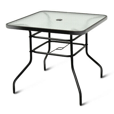 """32 1/2"""" Patio Square Bar Dining Table Glass Deck Outdoor In Patio Square Bar Dining Tables (Photo 19 of 25)"""