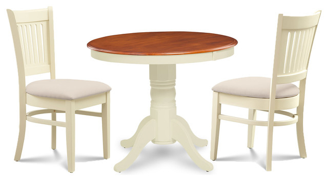 "36"" Dining Room Table Set Soft Padded Seat, Buttermilk And Cherry, 3 Piece For 3 Pieces Dining Tables And Chair Set (View 22 of 25)"