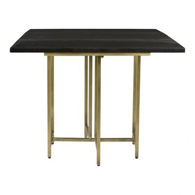 """36"""" W Square Dining Table Antique Brass Finished Iron Base Solid Mango Wood  