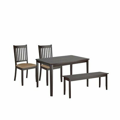 4 Piece Minimalistic Dining Set With Dining Chair And Bench With Dining  Table | Ebay With Regard To Atwood Transitional Rectangular Dining Tables (View 15 of 25)