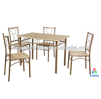 4 Seater Most Popular Wooden Top Dining Table Set – Buy Wrought Iron Dining Table Set,cheap Dining Table Set,dining Table Set Wooden Product On With Regard To Iron Wood Dining Tables (View 14 of 25)