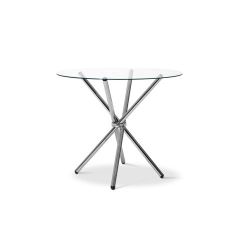 4 Seater Vetro Round Dining Table Tempered Glass Cross Chrome Steel Legs Throughout 4 Seater Round Wooden Dining Tables With Chrome Legs (View 9 of 25)