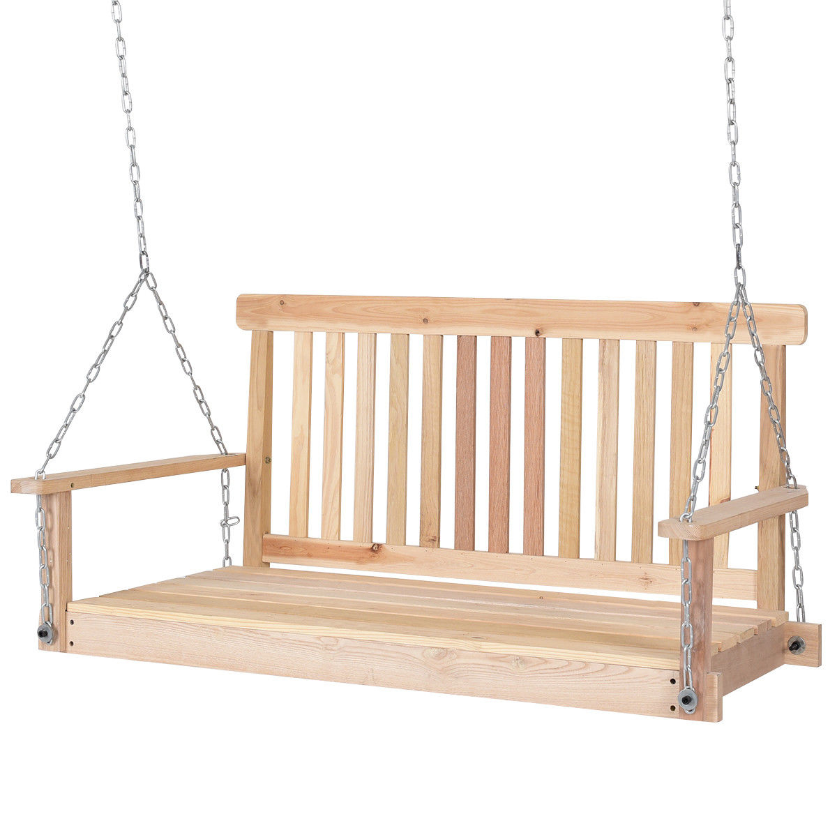 4' Wood Garden Hanging Seat Chains Porch Swing Inside 3 Person Natural Cedar Wood Outdoor Swings (View 22 of 25)