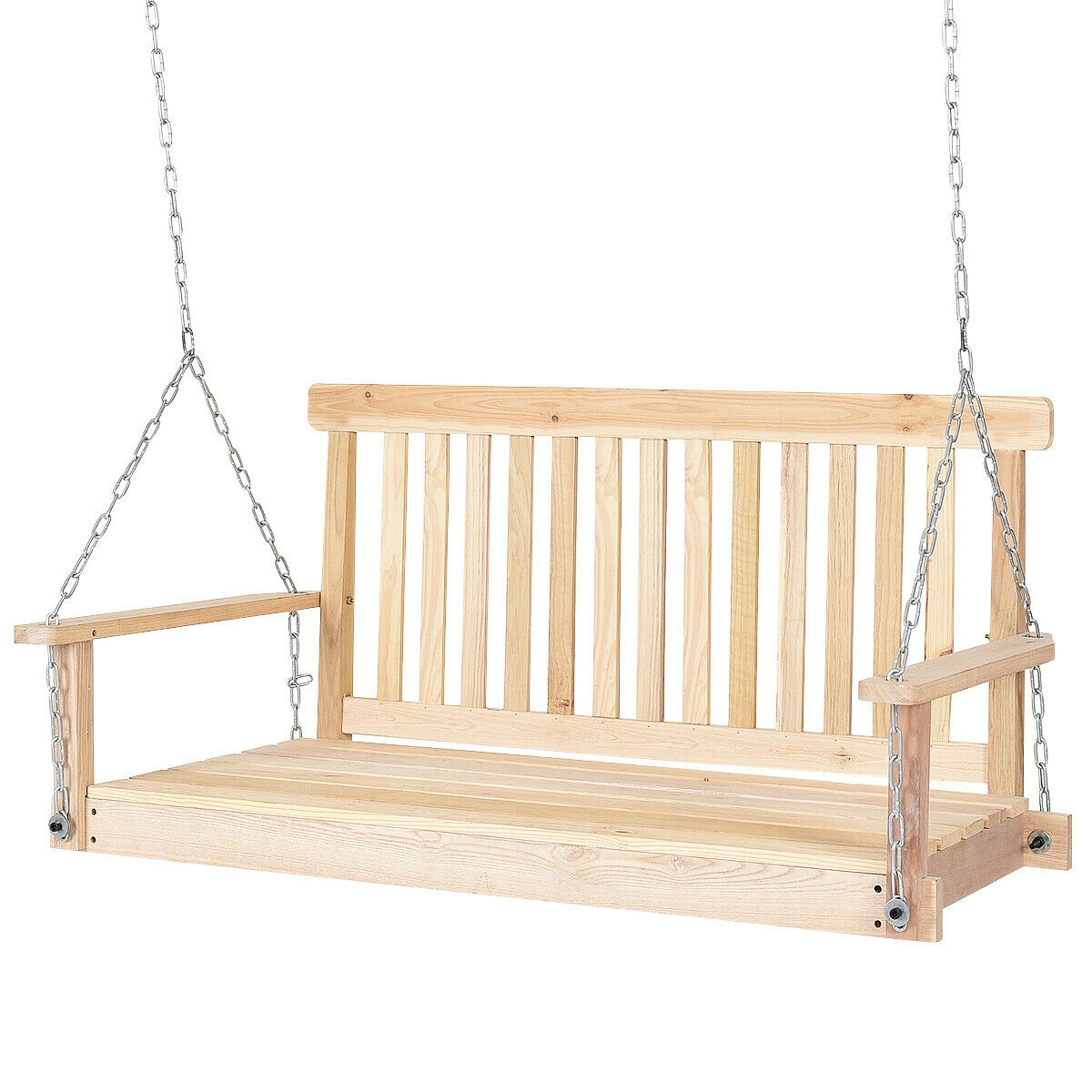 4' Wood Garden Hanging Seat Chains Porch Swing Intended For Swing Seats With Chains (View 24 of 25)