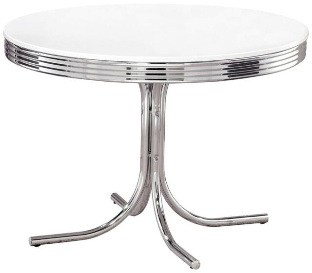 """42"""" Retro Dining Table Chrome 50's Diner Style Round Kitchen Furniture  Vintage Regarding Retro Round Glasstop Dining Tables (Image 1 of 25)"""