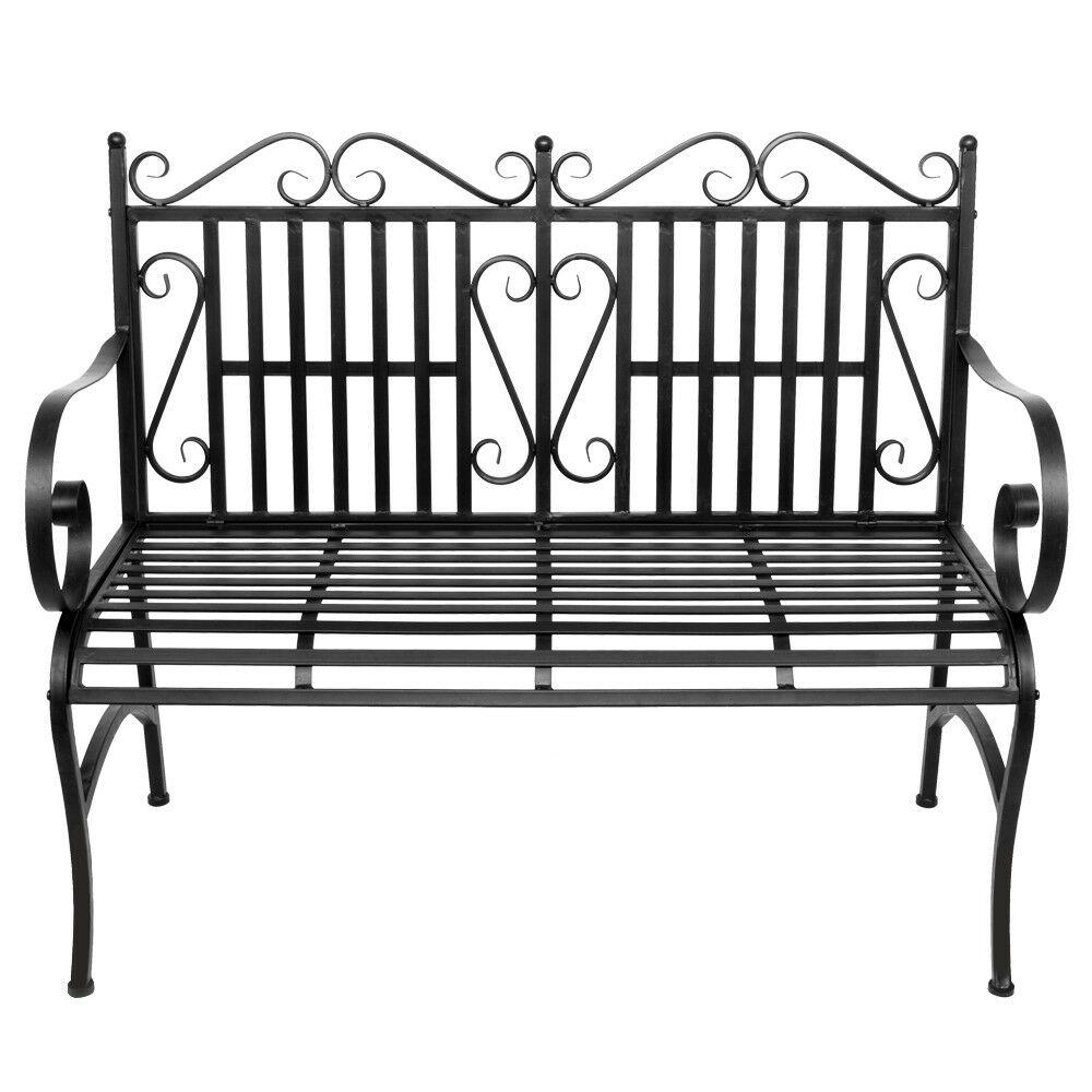 """44"""" L Patio Garden Bench Steel Porch Park Path Chair Outdoor In Black Outdoor Durable Steel Frame Patio Swing Glider Bench Chairs (Image 1 of 25)"""