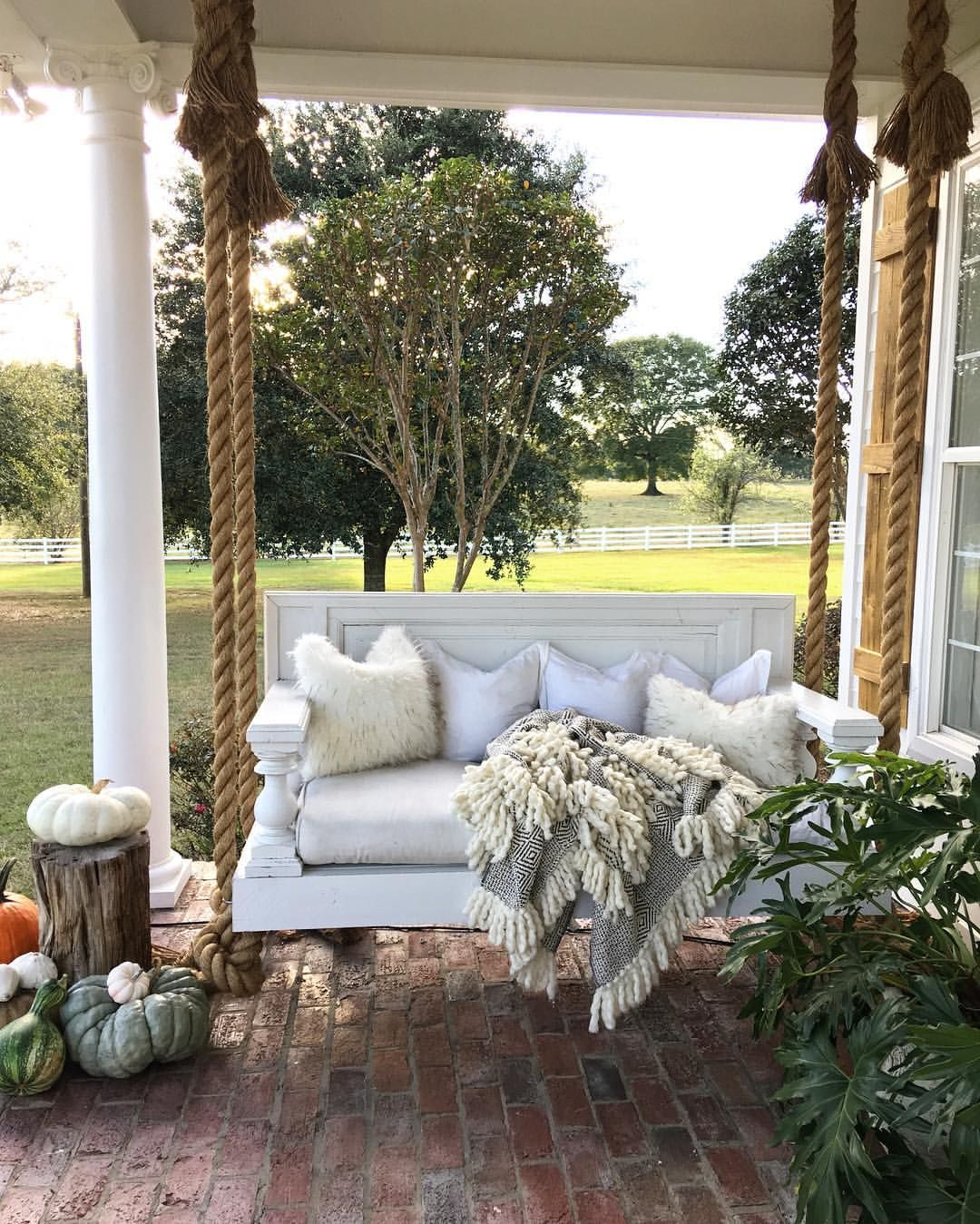 47 Rustic Farmhouse Porch Decor Ideas Hanging Manor Bed For Lamp Outdoor Porch Swings (View 3 of 25)
