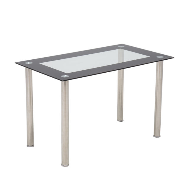 "48""x28""glass Dining Table W/metal Legs Kitchen Breakfast Dining Room Furniture With Glass Dining Tables With Metal Legs (View 21 of 25)"