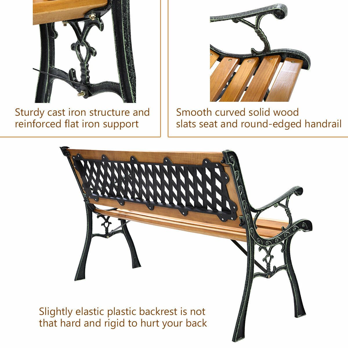 "49 1/2"" Patio Park Garden Bench Porch Path Chair Outdoor Deck Cast Iron Hardwood In Iron Grove Slatted Glider Benches (View 20 of 26)"