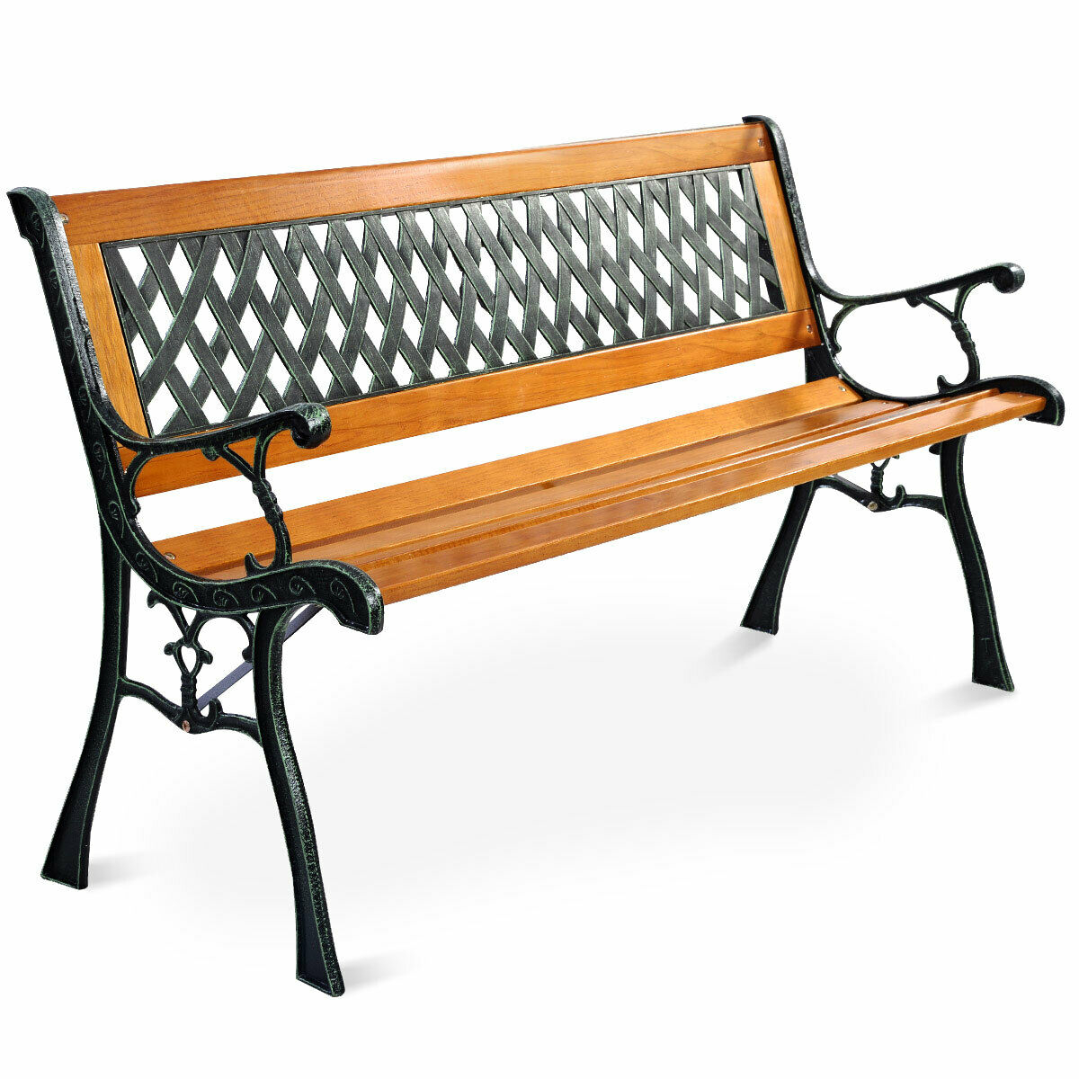 "49 1/2"" Patio Park Garden Bench Porch Path Chair Outdoor Deck Cast Iron Hardwood With Regard To Iron Grove Slatted Glider Benches (View 14 of 26)"