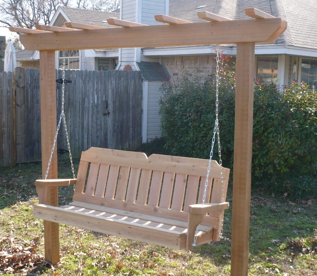 4X4 Post Style Arbor Swing | Porch Swing With Stand, Porch For Hardwood Hanging Porch Swings With Stand (View 6 of 25)