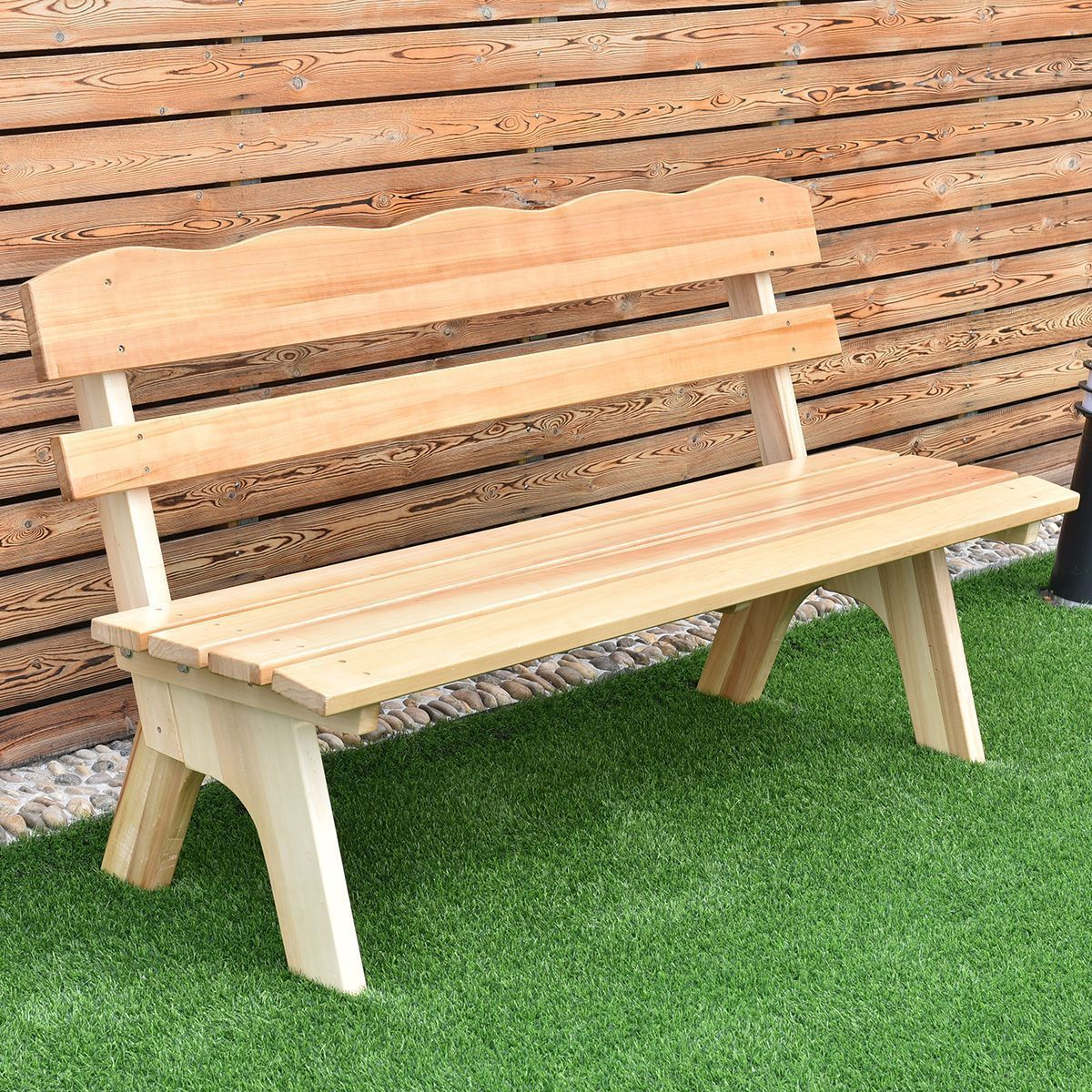 5 Ft 3 Seats Outdoor Wooden Garden Bench Chair Modern Wood Within Wood Garden Benches (View 22 of 25)