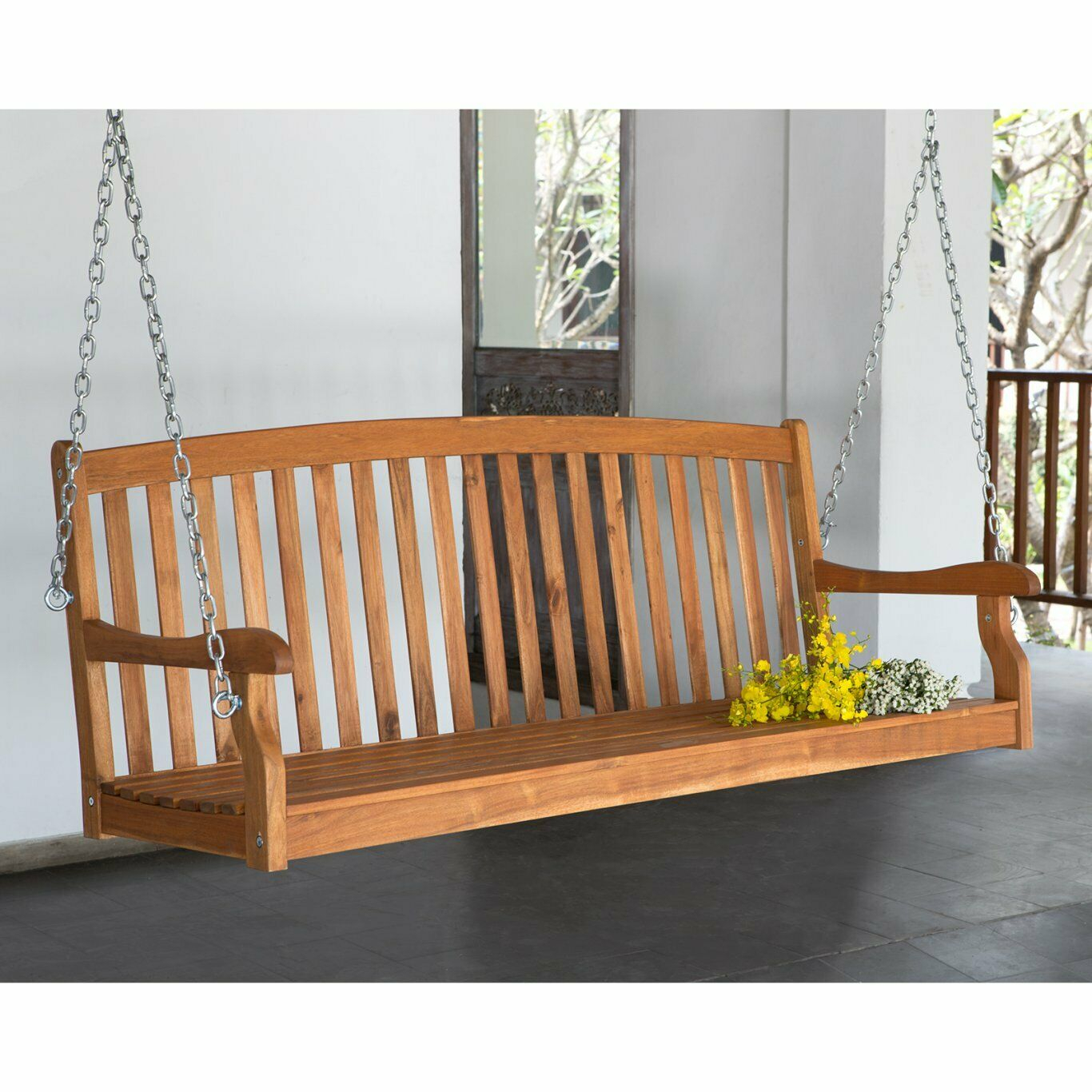 5 Ft Wood Porch Swing Slat Back 2 Person Bench Seat Loveseat Tree Furniture New Inside 2 Person White Wood Outdoor Swings (View 12 of 25)