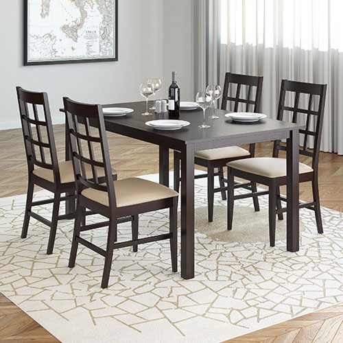 5 Piece Atwood Rectangle Dining Table & Chairs – Rich Cappuccino/grey Stone Intended For Transitional Rectangular Dining Tables (View 6 of 25)