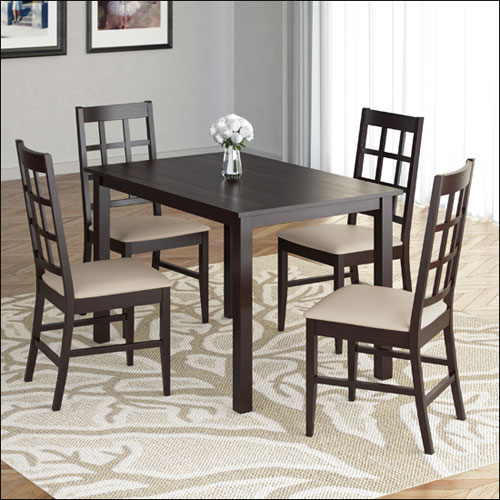 5 Piece Atwood Rectangle Dining Table & Chairs Set – Rich Cappuccino/grey  Stone With Regard To Atwood Transitional Rectangular Dining Tables (View 7 of 25)