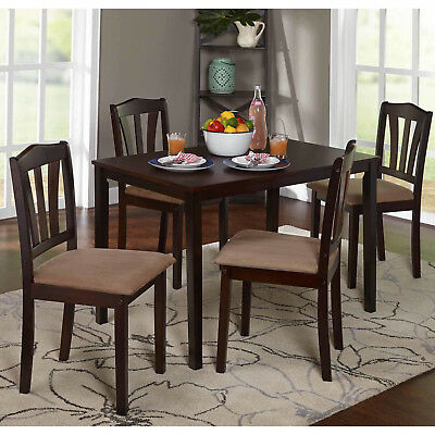 5 Piece Dining Set Kitchen Table And Chairs Furniture New Wooden Brown Finish | Ebay Throughout Espresso Finish Wood Classic Design Dining Tables (View 7 of 25)
