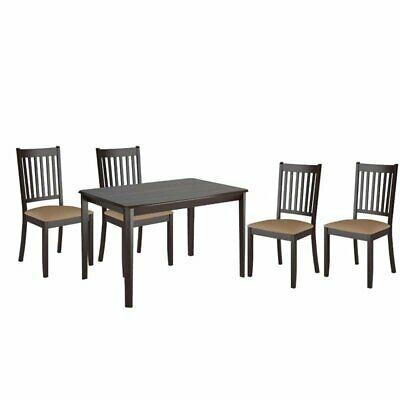 5 Piece Minimalistic Dining Table And Chair Set In Cappuccino 680270511835 | Ebay With Regard To Atwood Transitional Square Dining Tables (View 14 of 25)
