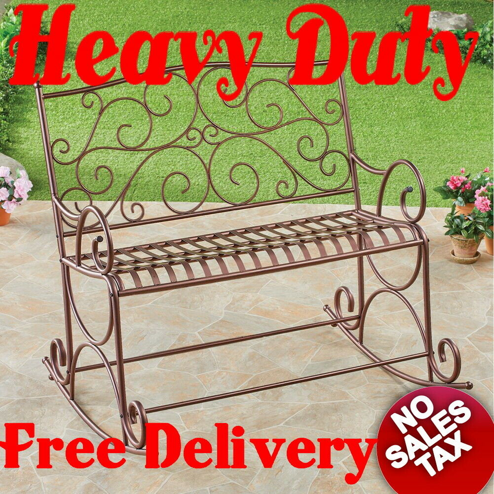 500Lb Heavy Duty Outdoor Metal Double Rocking Chair Patio Garden Bench  Glider With Iron Double Patio Glider Benches (Image 2 of 25)
