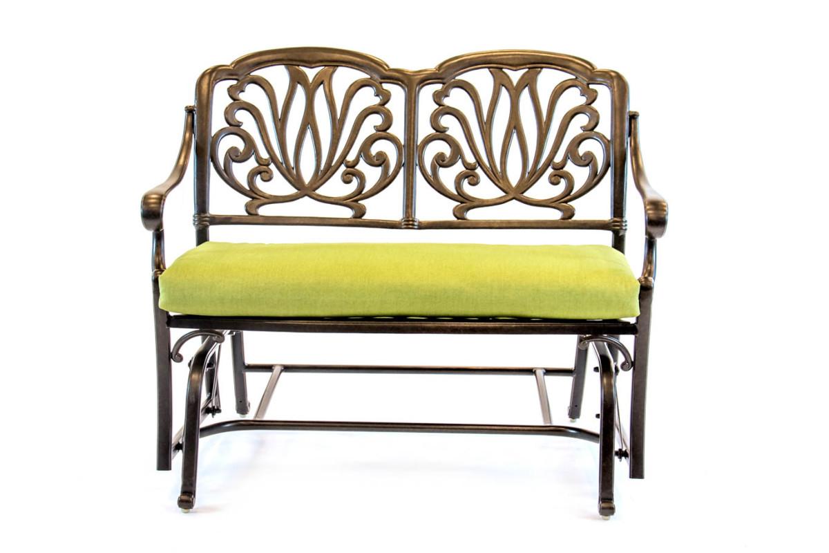 504371 – Hanamint – Biscayne – Aluminum – Glider Cushion Regarding Aluminum Glider Benches With Cushion (View 6 of 25)