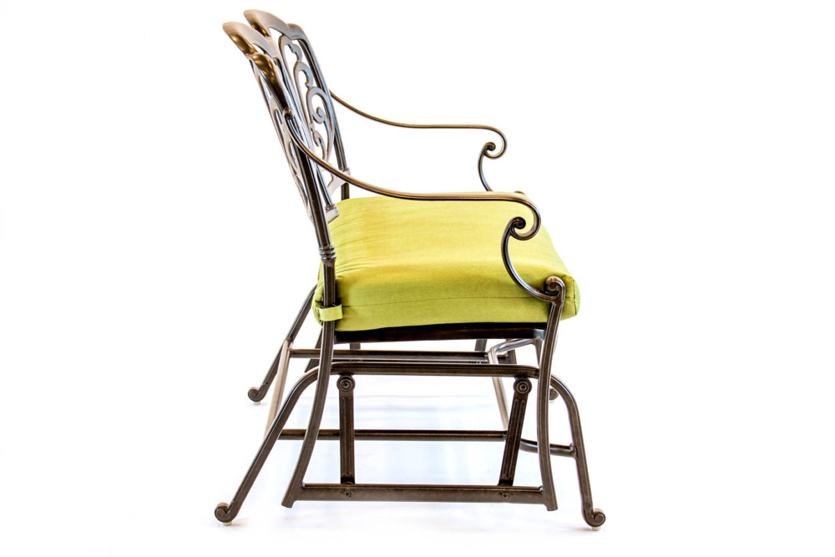 504371 – Hanamint – Biscayne – Aluminum – Glider Cushion Throughout Aluminum Glider Benches With Cushion (View 14 of 25)