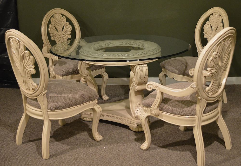 "54 "" Round Glass Top Dining Room Table W/4 Chairs – Neo Inside Neo Round Dining Tables (Image 2 of 25)"