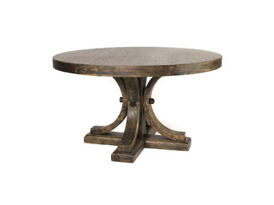 "54"" Rustic Driftwood Round Dining Table Pedestal Base G 
