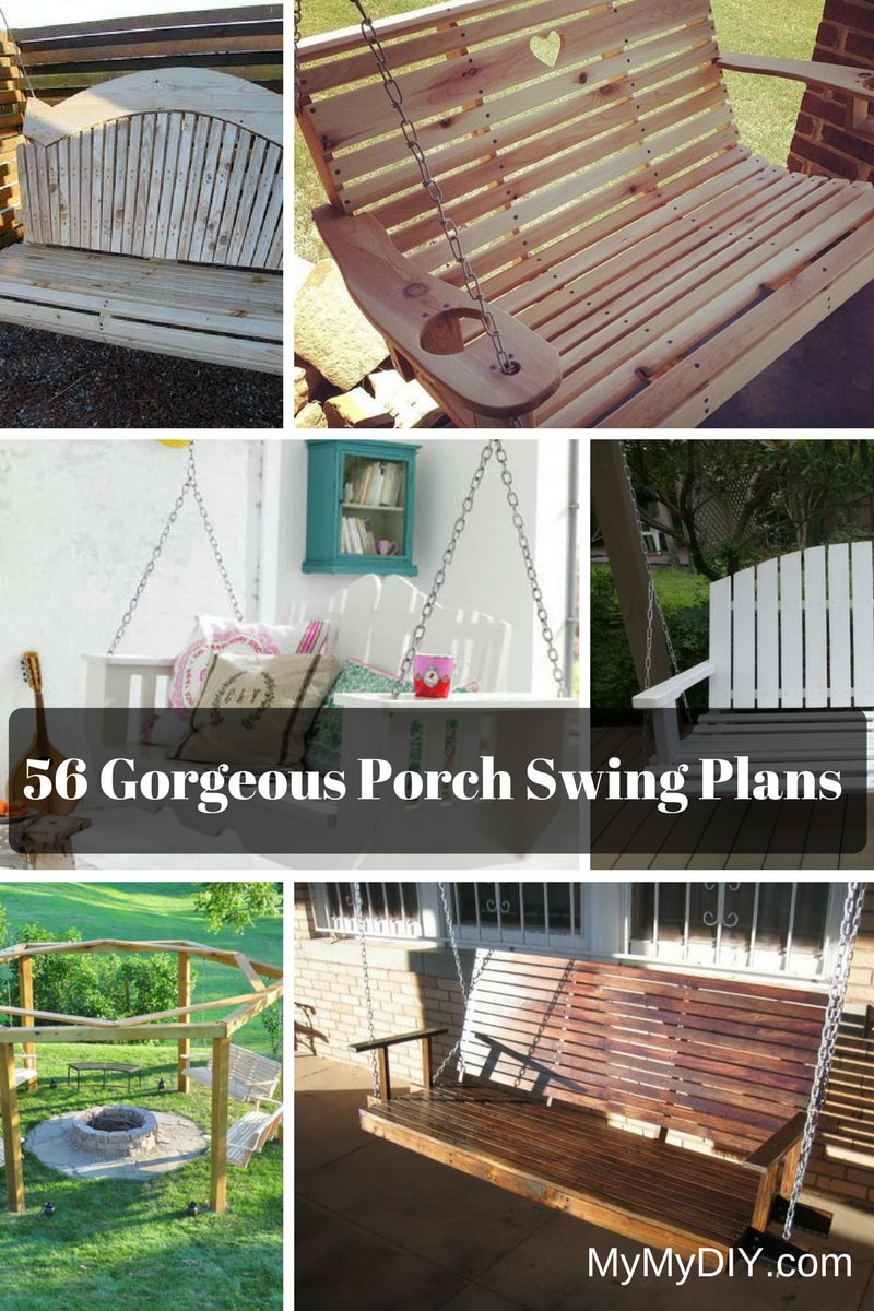 56 Diy Porch Swing Plans [Free Blueprints] – Mymydiy In Iron Grove Slatted Glider Benches (View 19 of 26)