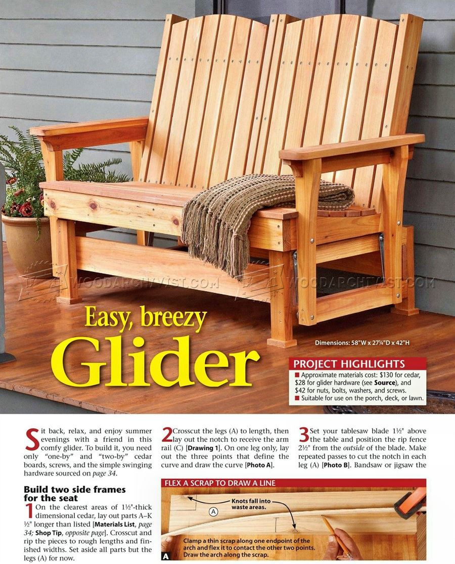 57 Glider Bench Plans – Outdoor Furniture Plans | Outdoor Pertaining To Cedar Colonial Style Glider Benches (View 8 of 25)