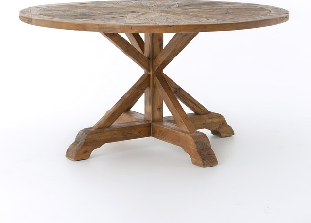 """59"""" L Jane Round Dining Table Reclaimed Bleached Pine Waxed Finish Solid  Wood Intended For Small Dining Tables With Rustic Pine Ash Brown Finish (View 18 of 25)"""