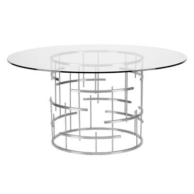 "59"" W Round Dining Table Polished Stainless Steel Base Clear Tempered Glass Top 