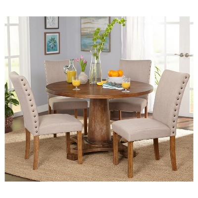 5Pc Atwood Dining Set – Driftwood (Brown) – Buylateral In Pertaining To Atwood Transitional Rectangular Dining Tables (View 5 of 25)
