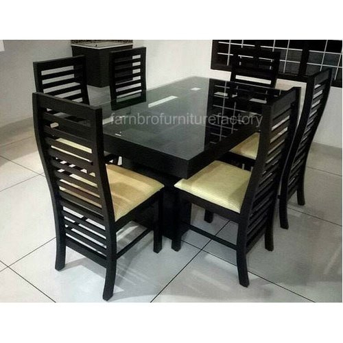 6 Seater Wooden Dining Table Set Pertaining To 6 Seater Retangular Wood Contemporary Dining Tables (View 7 of 25)