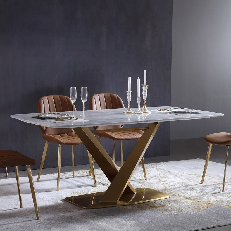 """71"""" Rectangular Faux Marble Dining Table Gold X Base Stainless Steel With  White Marble Top Regarding Dining Tables With White Marble Top (Photo 22 of 25)"""